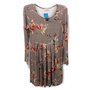 Pink Lily Taupe Long Sleeve Floral Dress